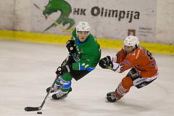 SELAN Maks of HK SZ Olimpija and Tommaso Traversa of Rittner Baum during hockey match between HK SZ Olimpija (SLO) and Rittner Buam (ITA) in 1st round of Alps Hockey League 2017/18, on September 13, 2017 in Tivoli, Ljubljana, Slovenia. Photo by Urban Urbanc / Sportida