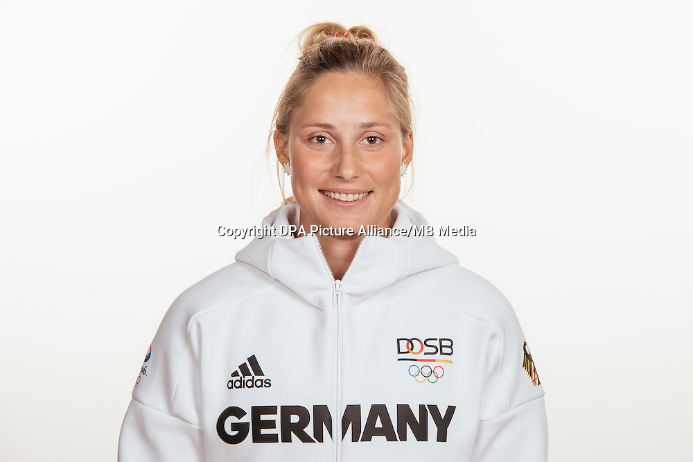 Victoria Jurczok poses at a photocall during the preparations for the Olympic Games in Rio at the Emmich Cambrai Barracks in Hanover, Germany, taken on 20/07/16 | usage worldwide
