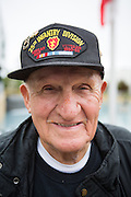 Ed Hart, United States Army veteran of the Korean War (1953-1954), poses for a portrait during the Milpitas Memorial Day Ceremony at Veterans Memorial Flag Plaza in Milpitas, California, on May 27, 2013. (Stan Olszewski/SOSKIphoto)