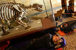 Natural History Museum, London, UK. 17/01/2014<br /> Stephen Brown from Ware, near Hertford, settles down for the night by a dinosaur exhibit of a giant ground sloth, in the main hall of the Natural History Museum in London. The 'Dino Snore' sleepover event allowed paying adults to spend the night inside the museum, where people could sleep among the dinosaur exhibits along with activities such as eating edible bugs and a lecture on the sex lives of insects.<br /> Photo: Anna Branthwaite/LNP