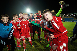 BALLYMENA, NORTHERN IRELAND - Thursday, November 20, 2014: Wales' players celebrate after beating Northern Ireland 2-0 during the Under-16's Victory Shield International match at the Ballymena Showgrounds. Max Smallcombe, Liam Cullen, Ben Williams, Ibby Sosani, Liam Angel, captain Tyler Roberts, Ben Woodburn. (Pic by David Rawcliffe/Propaganda)