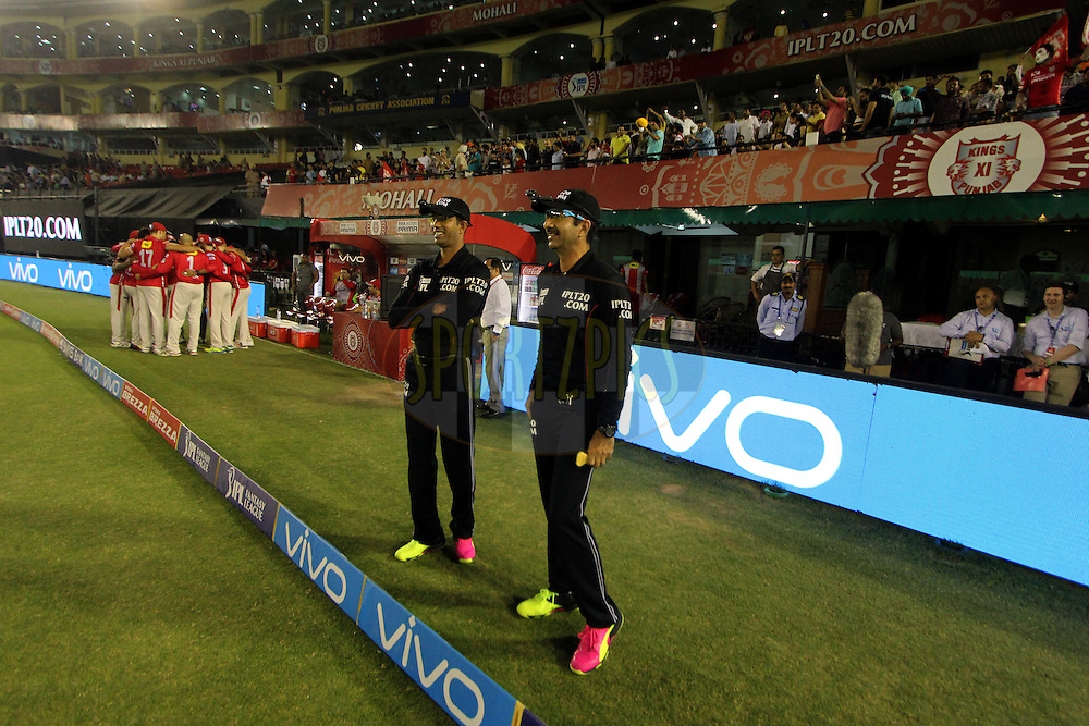 Umpires during match 39 of the Vivo Indian Premier League ( IPL ) 2016 between the Kings XI Punjab and the Royal Challengers Bangalore held at the IS Bindra Stadium, Mohali, India on the 9th May 2016<br /> <br /> Photo by Arjun Singh / IPL/ SPORTZPICS