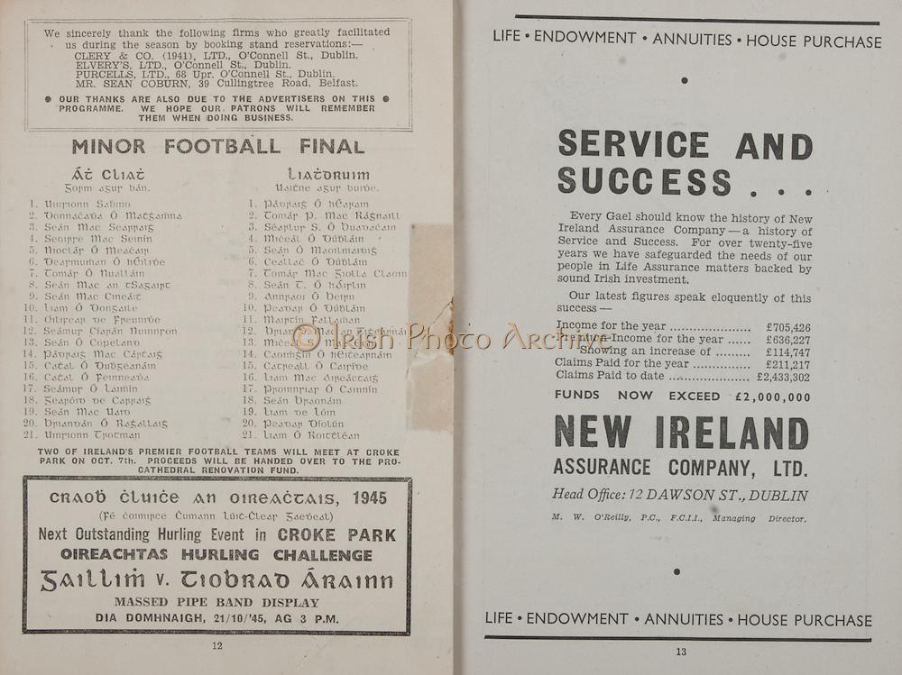 All Ireland Senior Football Final, Cork v Cavan, 23.09.1945, 09.23.1945, 23rd September 1945, Cork 2-05 Cavan 0-07,.23091945AISFCF,.