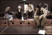 Young students at the HipHop2 (quadrate) School in Arnhem in the Netherlands. At the Hip Hop school youngsters from 10 to 25 can take workshops in rap, hip hop, breakdance and DJ Spinning...In Arnhem is sinds januari 2006 een HipHopschool gevestigd. Op deze school kunnen jongeren van tussen de 10 en 25 jaar workshops volgen in Rap, R&B zang, Breakdance, HipHop dance en DJ Spinning. Dit iniatief is tot stand gekomen door een samenwerking van Stichting Interart en de Arnhemse Rapgroep 'Andere Gekte'.  Arnhem, THE NETHERLANDS - 21-04-2006: