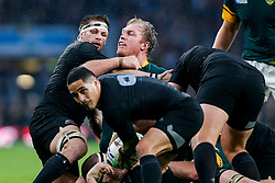 New Zealand Flanker Richie McCaw (capt) and South Africa Flanker Schalk Burger  compete - Mandatory byline: Rogan Thomson/JMP - 07966 386802 - 24/10/2015 - RUGBY UNION - Twickenham Stadium - London, England - South Africa v Wales - Rugby World Cup 2015 Semi Finals.
