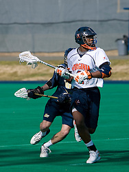 Virginia midfielder Shamel Bratton (1) prepares a shot against Navy.  The Virginia Cavaliers scrimmaged the Navy Midshipmen in lacrosse at the University Hall Turf Field  in Charlottesville, VA on February 2, 2008.