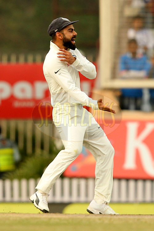 Virat Kohli captain of India celebrates wicket of David Warner of Australia during day four of the third test match between India and Australia held at the JSCA International Stadium Complex in Ranchi on the 19th March 2017. Photo by: Prashant Bhoot / BCCI/ SPORTZPICS