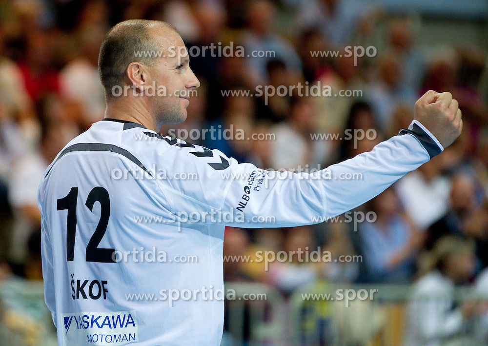 Gorazd Skof of Cimos celebrates during handball match between RK Cimos Koper (SLO) and Orlen Wilsa Plock (POL) of 2nd Round of EHF Champions League 2011/12, on October 8, 2011, in Arena Bonifika, Koper, Slovenia.  Cimos Koper defeated Wisla Plock 27-24. (Photo by Vid Ponikvar / Sportida)
