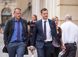 © Licensed to London News Pictures. 07/08/2018. Bristol, UK. RYAN HALE returns to Bristol Crown court at lunchtime today for the second day of his trial on charges of affray that relate to a fight outside a Bristol nightclub on September 25 2017. England cricketer Ben Stokes and two other men, Ryan Ali, 28, and Ryan Hale, 27, all deny the charge. Stokes, Ali and Hale are jointly charged with affray in the Clifton Triangle area of Bristol on September 25 last year, several hours after England had played a one-day international against the West Indies in the city. A 27-year-old man allegedly suffered a fractured eye socket in the incident. Photo credit: Simon Chapman/LNP