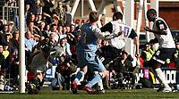 Photo: Paul Thomas.<br /> Preston North End v Manchester City. The FA Cup. 18/02/2007.<br /> <br /> Preston's David Nugent (10) scores.