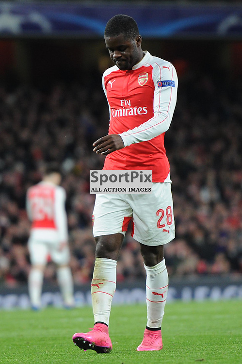 Arsenals Joel Campbell rues a missed chance during the Arsenal v Dinamo Zagreb game in the UEFA Champions League on the 24th November 2015 at the Emirates Stadium.