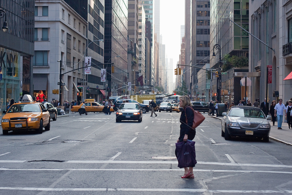 street scenes on fifth avenue in New York City in October 2008