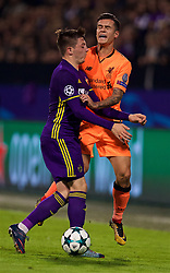 MARIBOR, SLOVENIA - Tuesday, October 17, 2017: Liverpool's Philippe Coutinho Correia and NK Maribor's Jasmin Mešanović during the UEFA Champions League Group E match between NK Maribor and Liverpool at the Stadion Ljudski vrt. (Pic by David Rawcliffe/Propaganda)