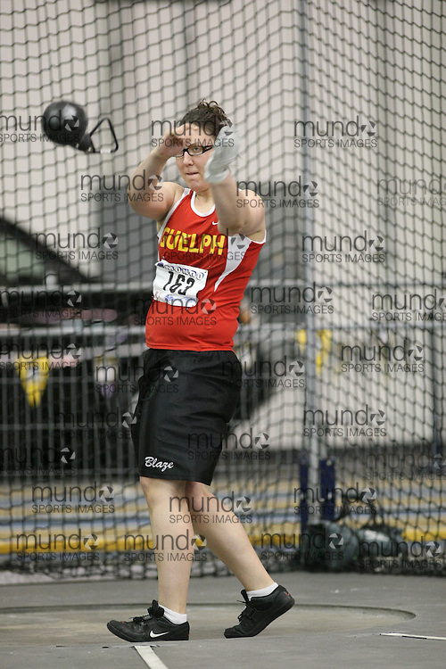 Windsor, Ontario ---12/03/09--- Daniela Kwiatkowski of  the University of Guelph competes in the Women's Weight Throw at the CIS track and field championships in Windsor, Ontario, March 12, 2009..Sean Burges Mundo Sport Images