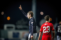 Falkirk's Blair Alston cele scoring their first goal. <br /> Falkirk 3 v 2 Rangers, Scottish Championship game player at The Falkirk Stadium, 18/3/2016.