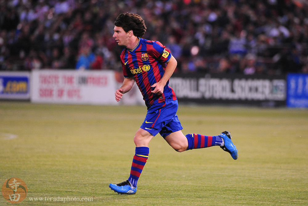 August 8, 2009; San Francisco, CA, USA; FC Barcelona forward Lionel Messi (10) runs during the first half in the Night of Champions international friendly contest against Chivas de Guadalajara at Candlestick Park.