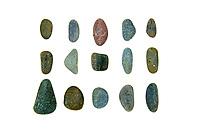 Smooth, round beach stones of Maine granite and schist.