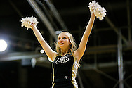December 28th, 2013:  A Colorado cheerleader during a break in the action during the second half of the NCAA Basketball game between the Georgia Bulldogs and the University of Colorado Buffaloes at the Coors Events Center in Boulder, Colorado