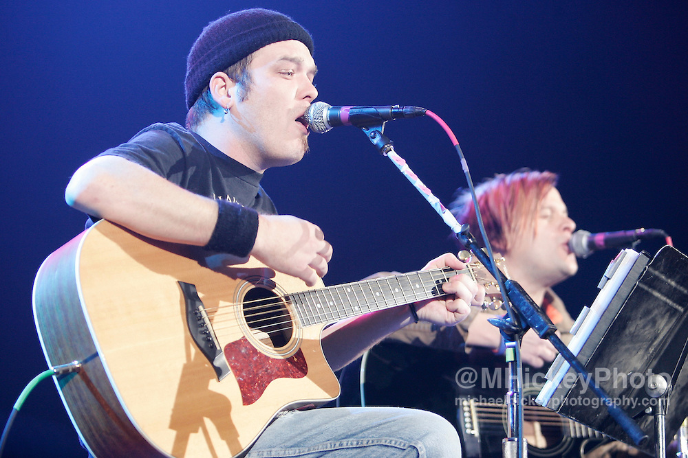 Two members of the group Bowling for Soup perform an acoustic duo at RadioNow 93.1's Santa Slam at the Pepsi Coliseum in Indianapolis, IN on Dec 2, 2004.
