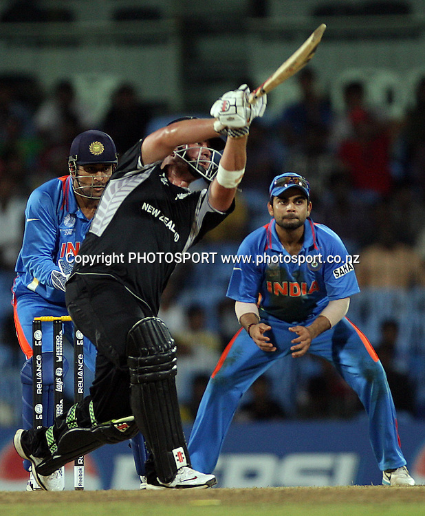 Jesse Ryder batting. India v New Zealand 2011 ICC World Cup Warm up game. MA Chidambaram Stadium, Chennai, India. 16 February 2011. Photo: photosport.co.nz