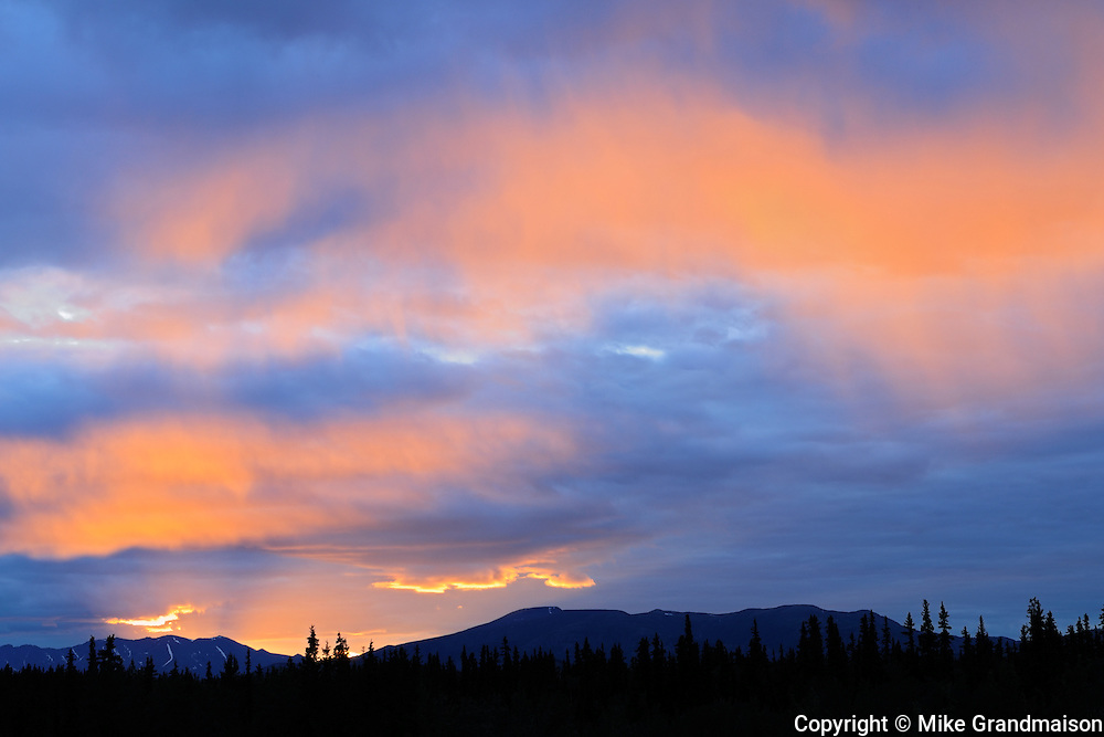 Sunset along the Alaska Highway<br /> Near Whitehorse<br /> Yukon<br /> Canada