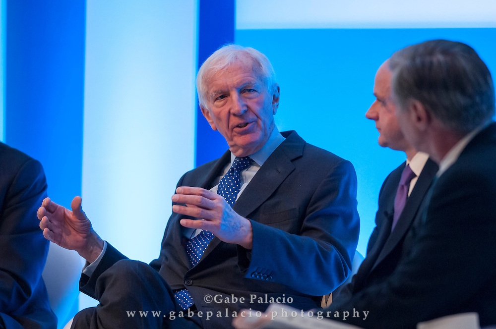 Sir David Walker, Chairman, Barclays, Colin Melvin, Chief Executive Officer, Hermes Equity Ownership Services, and Rik Kirkland, Partner &amp; Director of Publishing, McKinsey &amp; Company, speaking at the Long Term Value Summit in New York on March 10, 2015. <br /> (photo by Gabe Palacio)