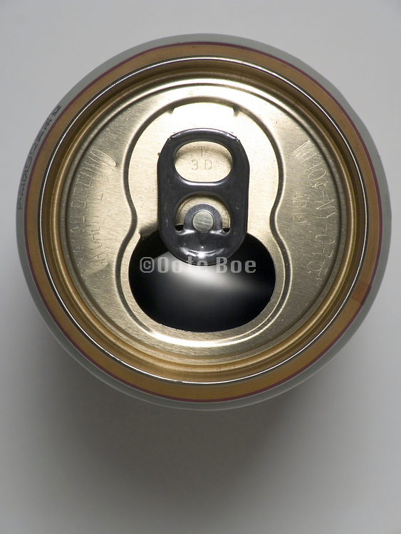 over head view of a open beer can