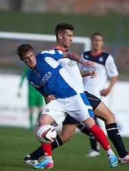Cowdenbeath's Jordan Morton and Falkirk's Kieran Duffie.<br /> Cowdenbeath 1 v 0 Falkirk, 14/9/2013.<br /> &copy;Michael Schofield.