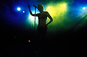 Silhouette of a singer on stage
