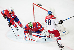 Mattias Norstebo of Norway, Lars Haugen of Norway and David Pastrnak of Czech Republic during the 2017 IIHF Men's World Championship group B Ice hockey match between National Teams of Czech Republic and Norway, on May 11, 2017 in AccorHotels Arena in Paris, France. Photo by Vid Ponikvar / Sportida
