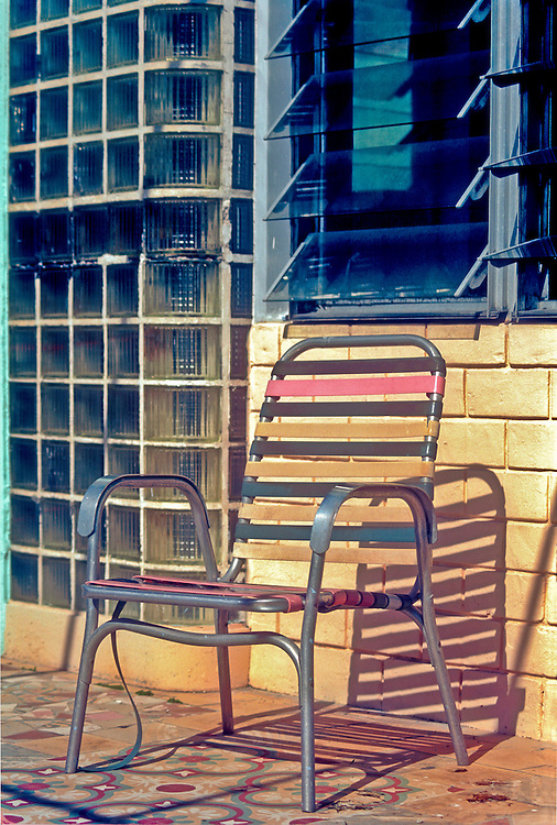 A beat-up lawn chair at a retirement home in an old Art Deco, Miami Beach hotel in 1996, when many senior citizens still lived in South Beach. <br />