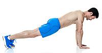one caucasian man  exercising fitness  push ups exercises isolated on white background