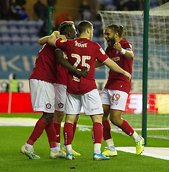 Famara Diedhiou of Bristol City (L)  celebrates after scoring his sides second goal - Mandatory by-line: Jack Phillips/JMP - 11/01/2020 - FOOTBALL - DW Stadium - Wigan, England - Wigan Athletic v Bristol City - English Football League Championship