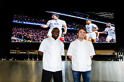 Chef's George Opondo and Josh Eggleton pose in front of the giant screen in the Ashton Gate Stadium Sports Bar & Grill ahead of the Rugby World Cup viewings to be held at the stadium - Photo mandatory by-line: Rogan Thomson/JMP - 07966 386802 - 15/09/2015 - SPORT - Ashton Gate Stadium - Bristol, England - Bristol Sport Bar & Grill World Cup Viewing Launch.