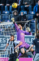 Falkirk's keeper Danny Rogers punches clear. <br /> Falkirk 3 v 0 St Mirren. Scottish Championship game played 21/10/2015 at The Falkirk Stadium.