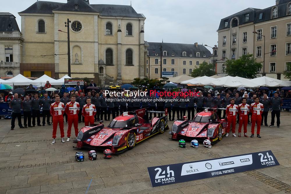 Matheo Tuscher (CHE) / Dominik Kraihamer (AUT) / Alexandre Imperatori (CHE) #13 and Nicolas Prost (FRA) / Nelson Piquet Jr (BRA) / Nick Heidfeld (DEU) #12 Rebellion Racing Rebellion R-One AER, . Le Mans 24 Hr June 2016 at Circuit de la Sarthe, Le Mans, Pays de la Loire, France. June 13 2016. World Copyright Peter Taylor/PSP.
