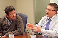 George LeBoeuf of Oakwood (left) and Lance Salyers of Monroe during a roundtable discussion of the Republican debate in Arizona, Wednesday, February 22, 2012.
