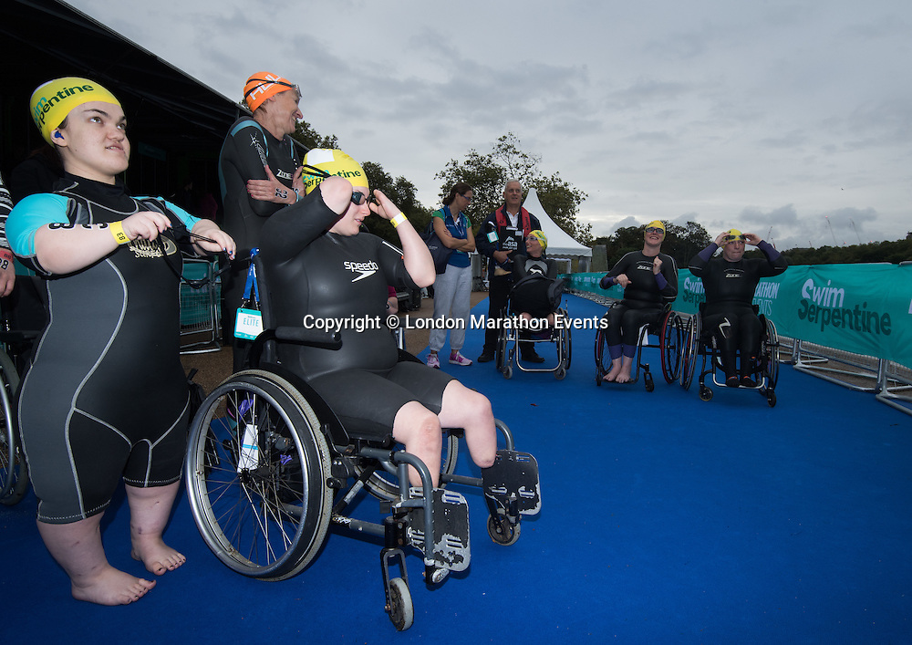 Para Swimmers Elite Mens Race is part of Swim Serpentine where thousands of swimmers take part in a two-day open water swimming festival, Swim Serpentine is held on the iconic Lake Serpentine, Hyde Park, venue for the open water swimming at London 2012.<br /> <br /> Photo: Bob Martin for Swim Serpentine<br /> <br /> For more information please contact media@londonmarathonevents.co.uk