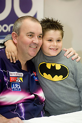 "Current Darts World Champion and leader of the Whyte & Mackay Premier League Darts tournament Phil ""The Power"" Taylor appeared at JJB sports Meadowhall today (Friday 16 April 2010)  as part of a tour of selected JJB stores. The meadowhall appearance was the first in a series of 5 dates he is also due to be a JJB Sports stores in Liverpool on the 21st April, Bolton on the 7th June. Blackpool on the 26th July and Dublin on the 11th October 2010. The events include autograph opportunities and advice demonstration of the techniques that have made Phil a 15 times World Champion...Friday 16 April 2010. .Images © Paul David Drabble."