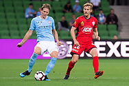 MELBOURNE, AUSTRALIA - APRIL 13: Melbourne City defender Harrison Delbridge (4) passes the ball during round 25 of the Hyundai A-League soccer match between Melbourne City FC and Adelaide United on April 13, 2019 at AAMI Park in Melbourne, Australia. (Photo by Speed Media/Icon Sportswire)