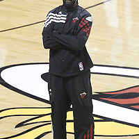 21 June 2012: Miami Heat center Ronny Turiaf (21) is seen prior to the Miami Heat 121-106 victory over the Oklahoma City Thunder, in Game 5 of the 2012 NBA Finals, at the AmericanAirlinesArena, Miami, Florida, USA. The Miami Heat wins the series 4-1.