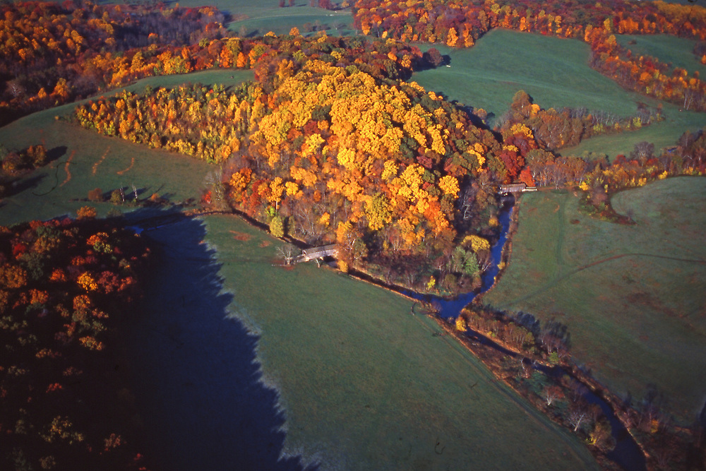 PA landscapes, Fall Scenic, Aerial Photo, Two Covered Bridges, Chester Co., Pennsylvania Aerial Photograph Pennsylvania