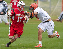 Maryland Terrapins SSM Bryn Holmes (17) in action against UVA.  The #9 ranked Maryland Terrapins fell to the #1 ranked Virginia Cavaliers 10 in 7 overtimes in Men's NCAA Lacrosse at Klockner Stadium on the Grounds of the University of Virginia in Charlottesville, VA on March 28, 2009.