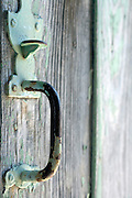 weathered door with old style handle