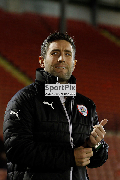 Under pressure manager Lee Johnson during Barnsley v York City, Johnstone's Paint Trophy Area Quarter Final, Tuesday 10 November 2015, Oakwell