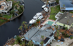 August 27, 2017 - Rockport, Texas, U.S. - Storm-damaged Rockport, Texas homes in the Key Allegro neighborhood are seen in this Sunday, aerial photo. Hurricane Harvey made landfall late Friday night in Rockport as a Category 4 storm. (Credit Image: © San Antonio Express-News via ZUMA Wire)