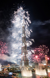 Dubai , United Arab Emirates, January 1 2014; Spectacular fireworks display at Burj Khalifa Tower in Dubai to celebrate New Year