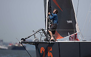 IMOCA Ocean Masters. New York - Barcelona Race start. Pictures of the Safran Sailing Team skipper Morgan Lagraviere (FRA) during the race start today<br />  Credit: Mark Lloyd/DPPI
