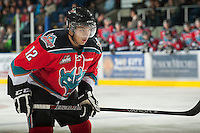 KELOWNA, CANADA - NOVEMBER 9:   Tyrell Goulbourne #12 of the Kelowna Rockets lines up against the Red Deer Rebels at the Kelowna Rockets on November 9, 2012 at Prospera Place in Kelowna, British Columbia, Canada (Photo by Marissa Baecker/Shoot the Breeze) *** Local Caption ***