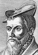 Pierre Belon (1517-1564) French naturalist, aged 36, 1553.   From 'Histoire des Philosphes Modernes' Alexandre Saverien, (Paris 1762). Copperplate engraving.